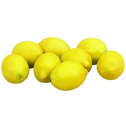 8 piezas de fruta artificial modelo limón simulación realista falso limón foto accesorios para decoración del hogar, fiesta, festival, amarillo creativo y útil