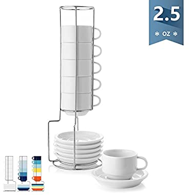 Sweese 4310 Porcelain Stackable Espresso Cups with Saucers and Metal Stand - 2.5 Ounce for Specialty Coffee Drinks, Latte, Cafe Mocha and Tea - Set of 6, White