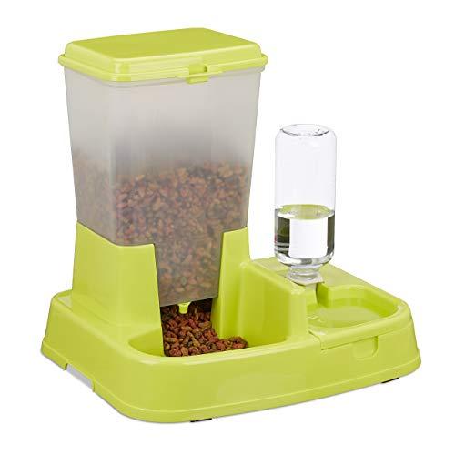 Relaxdays Dispensador de Agua y Comida para Gatos y Perros, con Botella, plástico, 34 x 34,5 x 27,5 cm, Color Verde