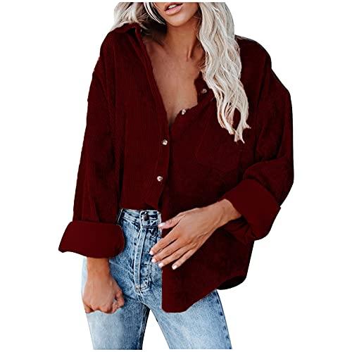 UEsent Camisa de mujer de manga larga con cuello en V de DüNner, abrigo, blusa informal, holgada, elegante, de un solo color, túnica, informal, holgada, Vino, M