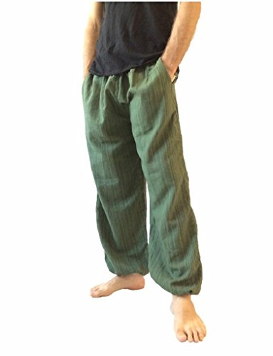 Love Quality - Pantalones holgados de algodón para hombre - talla única, estilo hippie/bohemio -  Verde -  Talla Única