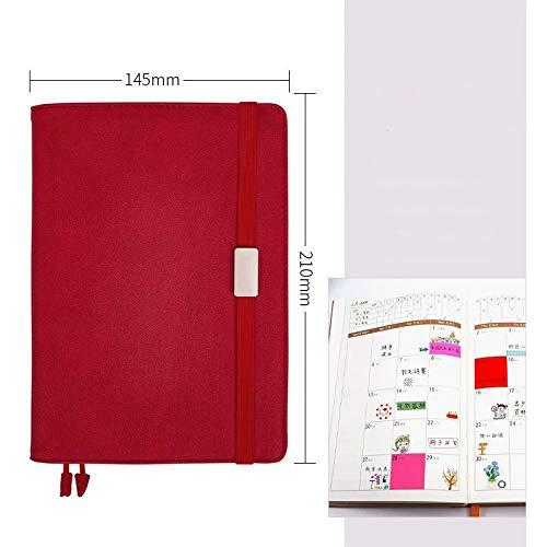 PR Plan de linda planificador A5 recargable Agenda organizador planificador diario semanal mensual cuaderno del diario Nota Manual Bloc de notas (Color : Red Bandage)