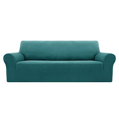 Deconovo Sofabezug Sofa Überzug Sofaüberwurf Sofa Cover Sesselbezug Sofahusse Sofa Abdeckung Super Elastisch Stretch Jacquard 180-230 cm Türkis 3-Sitzer