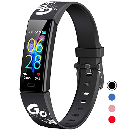 Mgaolo Slim Fitness Tracker for Kids Women,IP68 Waterproof Activity Tracker with Blood Pressure Heart Rate Sleep Monitor,11 Sport Modes Health Smart Watch with Pedometer for Fitbit,Great Gift (Black)