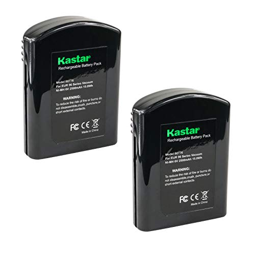 Kastar EK60776 Battery (2 Pack), Ni-MH 6V 2500mAh, Replacement for Eureka60776 60776 68112 39150 25-0010-02 Eureka 96A 96A-1 96B 96D 96DZ 96DZ-1 96F 96F-1 Eureka Quick Up 2-in-1 Cordless 96H 96JZ 97A