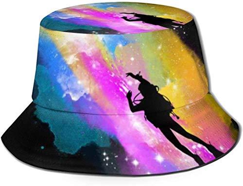 BONRI Sombreros de Cubo Transpirables con Parte Superior Plana Unisex Sombrero de Cubo de Buceo Espacial Sombrero de Pescador de Verano-Buceo Espacial-Talla única