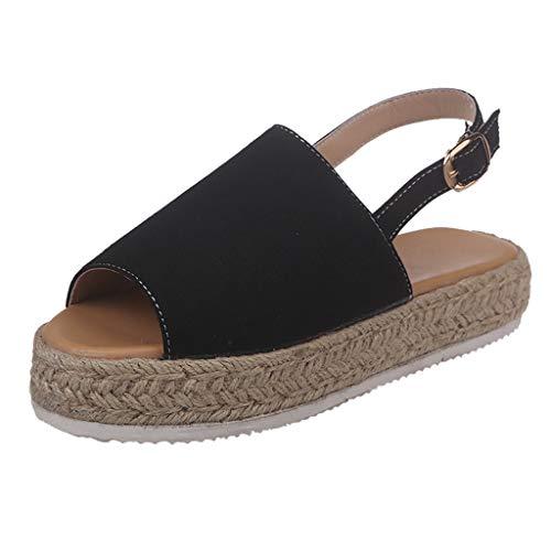 BOLUBILUY Women's Platform Sandals,lEspadrille Ankle Strap Studded Open Toe Sandals Thick Bottom Shoes Roman Sandals Black