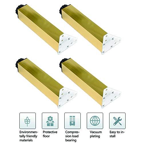 Gouden vierkante kast voeten 4-delige set met 6-30CM aluminiumlegering verstelbare voet Verstelbare kabinet voeten voor sofa, badkamer, keuken,30cm