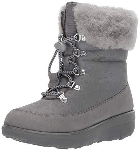 FitFlop Women's Boot Holly Shearling, Charcoal, 9 M US