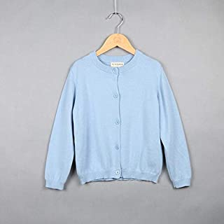 ملابس الاطفال Spring and Autumn Children Clothing Girl Cotton Knit Cardigan Sweater, Kid Size:100cm(Light Yellow) ملابس الأولاد (Color : Light Blue)