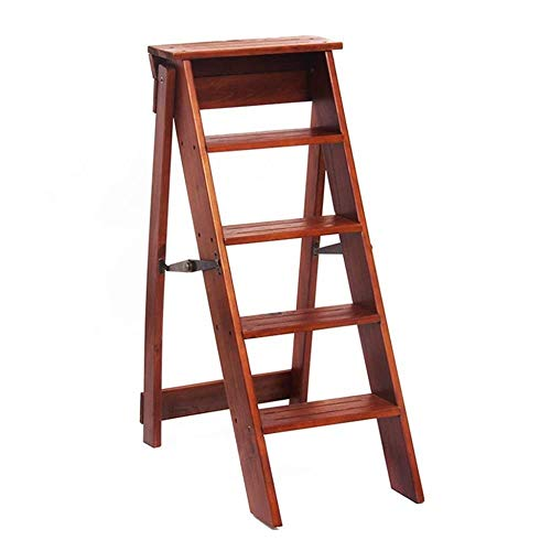 XITER Klappstuhl aus Holz Leitern Hocker 5-stufig, Trittleiter- / Treppenstühle, Multifunktionsleiterregal (Farbe : Wood)