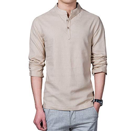 Camisas de Manga Larga para Hombres Primavera y Verano Decoración de Botones Camisas Casuales Delgadas de Manga Larga Camisas Simples de Color sólido de Talla Grande M