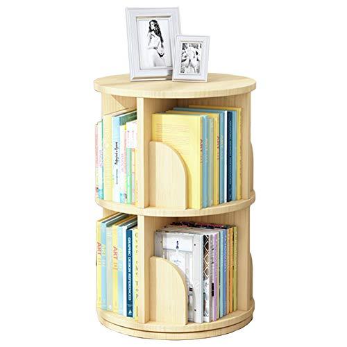 Estantes Librero Rotación de 360° Estantería de Esquina, Multicapa Madera Maciza Libros con Deflector Curvo Anti-caída, Estantería de Libros Alta (Size : 2-Tier(46×66cm))