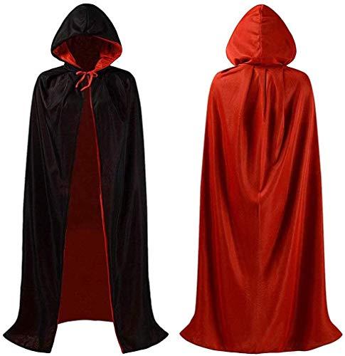 FANDE Capa de Halloween Negro, Capa de Vampiro de Halloween, Vampiro Capucha Capa Manto Reversible Negro Rojo para Adultos Halloween Dracula Cosplay 140 cm