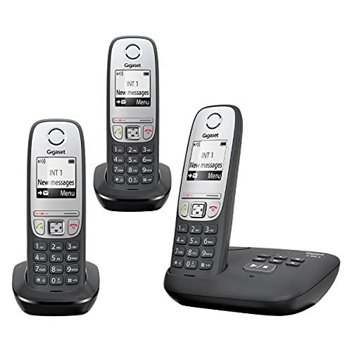 Gigaset A455A Trio – fortschrittliches schnurloses Heimtelefon mit Anrufbeantworter und störender Anrufsperre – 3 Hörer, schwarz/Silber