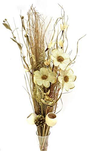 Link Products Einzigartiger, getrockneter und künstlicher Blumenstrauß, 98 cm hoch, bereit für eine Vase, goldfarben