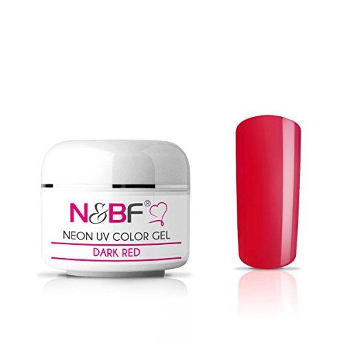 N&BF Neon Farbgel 5ml | Dark Red (Rot) | UV Colour Gel für Gelnägel | Effektgel für künstliche Fingernägel mittelviskos | Made in EU | Nagelgel UV neon | Colorgel ohne Säure + selbstglättend