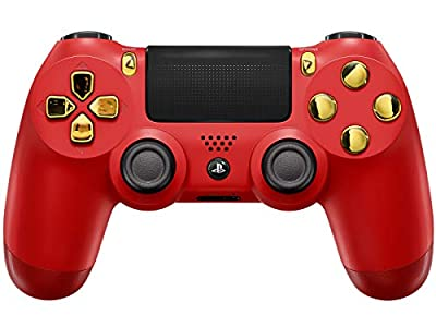 Red/Gold PS4 PRO Modded Controller for All Major Shooter Games & More (CUH-ZCT2U)