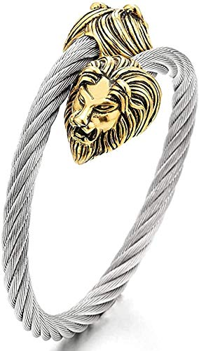 YOUZYHG co.,ltd Adjustable Stainless Steel Men's Rigid Bracelet with Braided Cable with Vintage Gold Color Lion Head