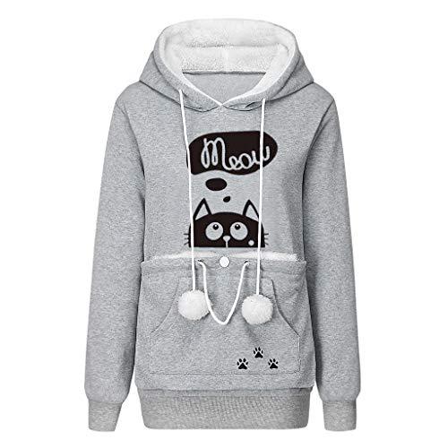 Pet Pouch Hoodie- Dog Cat Holder Carrier Sweatshirt Fleece Big Pouch Pullover for Women (Light Grey, 3X-Large)