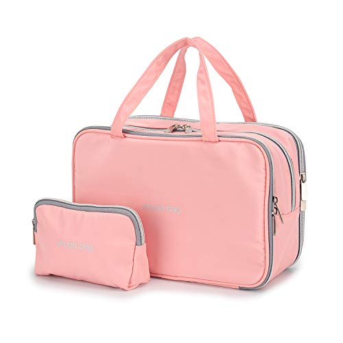 Travel Makeup Bag Toiletry Bags Large Cosmetic Cases for Women Girls Water-resistant (pink/makeup bag