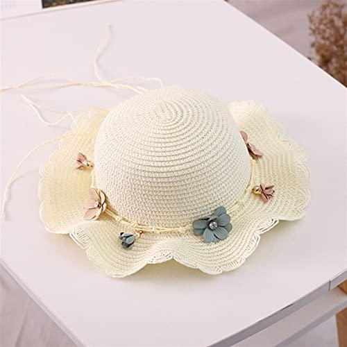 BEIMODZ Solhatt sommar nya barn halmhatt koreansk baby solhattar skönhet blommig flicka vårmössa strand visir hatt stråväska strandhatt (färg: Vit hatt, storlek: 2 6 år)