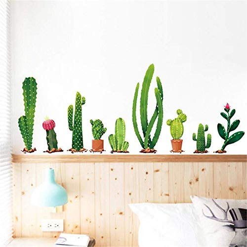 Cactus Wall Sticker Green Plants Wall Decal Cactus Wall Decals Removable Wallpaper for Kids Nursery Bedroom Living Room Holiday Decoration