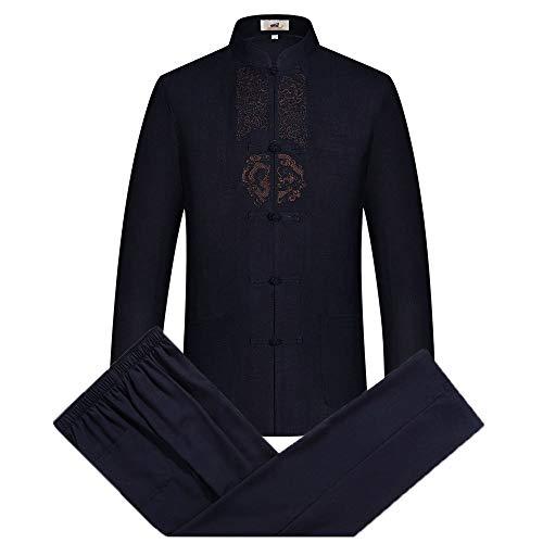 Airuiby Tang Anzug Männer Traditionelle chinesische Kleidung Anzüge Hanfu Baumwolle Langärmeliges Shirt Mantel Herren Tops und Hosen (Dunkel blau, L)