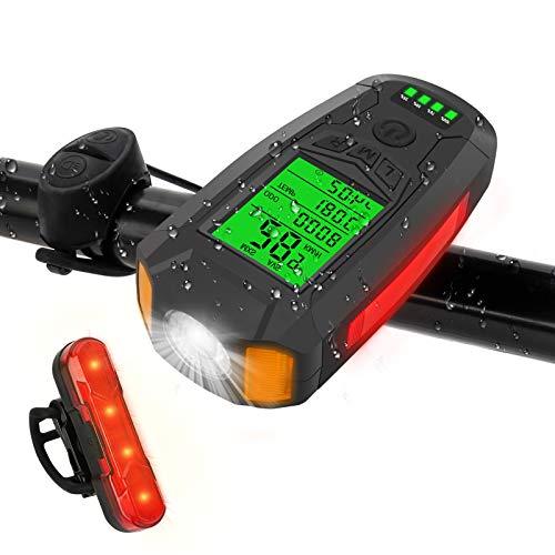 Jooheli Luci Bicicletta LED Ricaricabili USB, USB Ricaricabili Luce Bici con Contachilometri, Impermeabile Ricaricabili Luci Bicicletta LED Integrato Contachilometri Bici con LCD Schermo