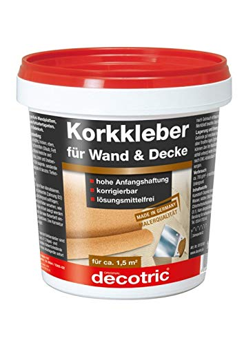 1 kg decotric Korkkleber Gebrauchsfertiger Dispersionskleber zum Kleben von Korkplatten und Korkbahnen an Wänden und Decken. Nicht für Bodenverklebungen