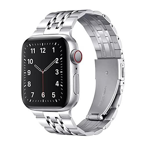QAZNZ Cinturino in metallo compatibile con Apple Watch, 44 mm, 42 mm, sette perle in acciaio inox, cinturino di ricambio per iWatch Serie 6 & 5/4/3/2/1, SE (42 mm, 44 mm, argento)