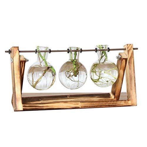 Glazen bloembak vaas met retro massief houten standaard en metalen draaibare houder Transparante retro 3 bekers
