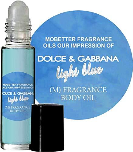 MoBetter Fragrance Oils' Our Impression of Light Blue for Men Body Oil 1/3 oz roll on Glass Bottle
