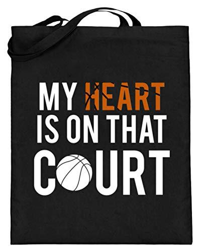 Mein Herz Ist auf dem Platz! Tapis de basketball – Design simple et amusant – Sac en toile de jute (avec longues anses) - Noir - Noir , 38cm-42cm
