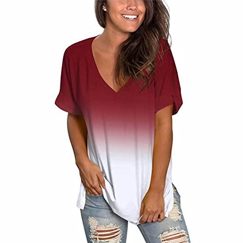 ZFQQ Primavera y Verano Camiseta de Manga Corta con Cuello en V y Estampado Multicolor Degradado para Mujer