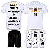 DE FANSHOP Deutschland Trikot mit Hose & GRATIS Wunschname + Nummer + Wappen #D10 EM/WM 2021 2022 - Geschenke für Kinder,Jungen,Baby. Fußball T-Shirt personalisiert