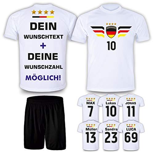 Deutschland Trikot Set 2021 mit Hose GRATIS Wunschname Nummer im EM WM Weiss Typ #DE4th - Geschenke für Kinder Erw. Jungen Baby Fußball T-Shirt Bedrucken