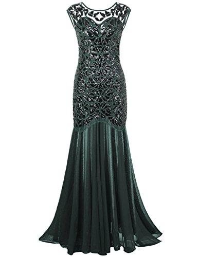PrettyGuide Women 's 1920s Black Sequin Gatsby Maxi Long Evening Prom Dress, Green - 18/20 Plus