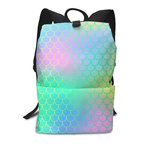 Mochila unisex con estampado 3D de sirena, diseño de escamas de arcoíris para la escuela, mochila de viaje para niños y adultos