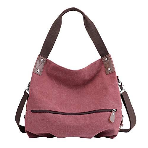 PB-SOAR Damen Modern Canvas Schultertasche Umhängetasche Shopper Handtasche Henkeltasche Hobo Bag Beuteltasche (Fuchsie)