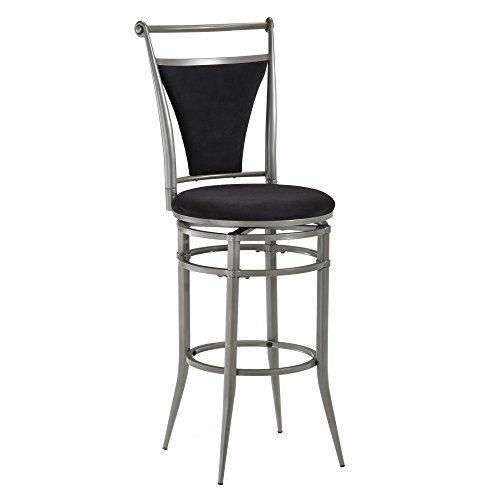 "Hot Sale CIERRA SWIVEL BAR STOOL with BLACK FAUX SUEDE (PEWTER) (45""H x 17""W x 20""D)"