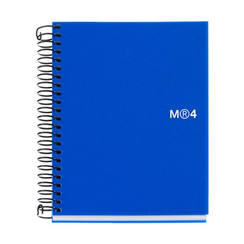 """Miquelrius Small 4 Subject Spiral Notebook, Blue, Graph/Quad Pages (4.5"""" x 6"""")"""