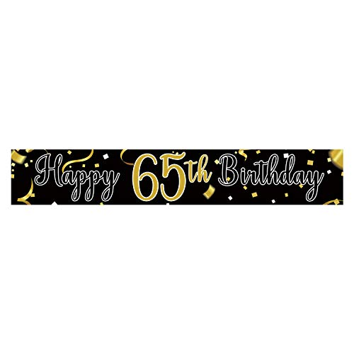 Large Happy 65th Birthday Banner, Cheers & Beers to 65 Years, Birthday Hanging Banner, Birthday Party Decoration Supplies, Celebration Flag(9.8 x 1.6 ft)