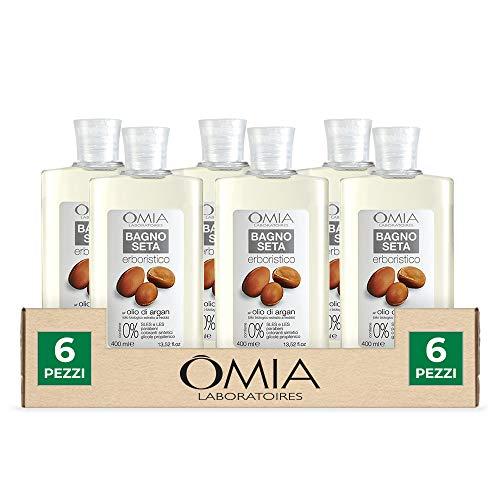 Omia, Bagnoseta Erboristico All'Olio di Argan, Bagnoschiuma per Pelli Aride e Irritabili - Dermatologicamente Testato, Senza SLS e SLES - Confezion e da 6 Pezzi da 400 ml