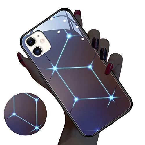 QfireQ Luminosa Funda para iPhone 11/12/12 Pro/12 Mini Luz de Control de Sonido Degradado Vidrio Templado Back Cover con Marco de TPU Suave Rasguña Resistente Fluorescente Case,Púrpura,11 Pro MAX