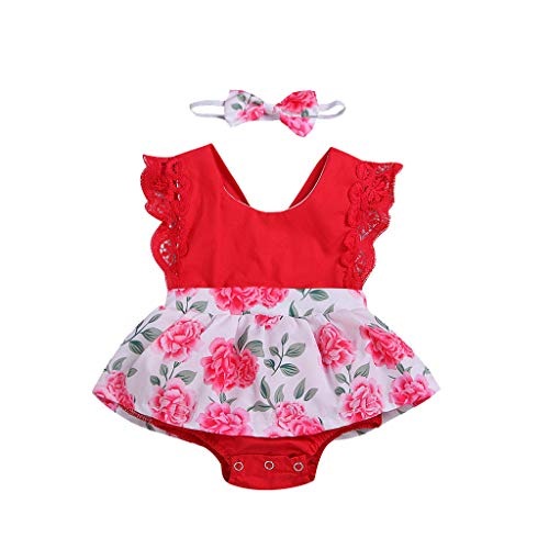 Xmiral Baby Mädchen ärmellose O-Ausschnitt Rückenfreie Kleid Strampler + Stirnband Outfits Neugeborene Lace Onesies Overall(Rot,3-6 Monate)