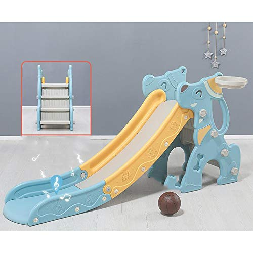 SHEHUIREN Children's Slide Kids Toddler Play Toy Playground Outdoor Indoor Climbing Ride with Basketbll Hoop Suitable for Children of 2-7 Years Old Easy To Assemble Instructions,Blue
