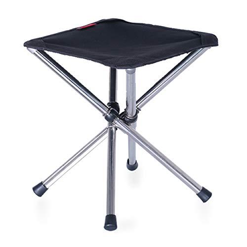 TRIWONDER Taburete de Camping Plegable Trípode Silla Ligera Portátil Mini Taburete para Campaña BBQ Picnic al Aire Libre (Negro - S)