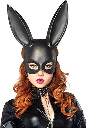Ulalaza Disfraz de máscara de Conejito de Mujer Media máscara de Conejo Negro para Accesorio de Disfraces de Pascua de Halloween