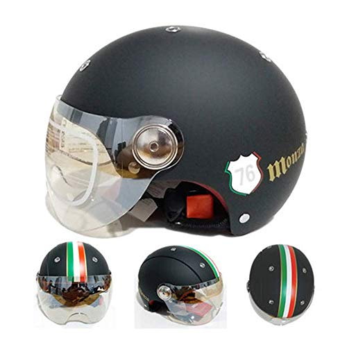 Motorcycle Helmet Scooter Locomotive Half Helm Open Helm Half-Cover Valhelm Bicycle Head Protection Ruiter Mannen en Vrouwen All Season Afneembare wasbare binnenvoering, A, L 8bayfa